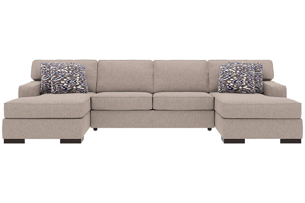 Ashlor Nuvella® 3-Piece Sleeper Sectional and Pillows, Slate, large