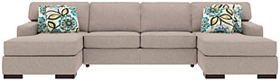 Ashlor Nuvella® 3-Piece Sleeper Sectional and Pillows, Slate, rollover
