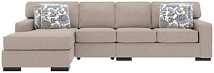 Ashlor Nuvella® 3-Piece Sectional and Pillows, Slate, rollover