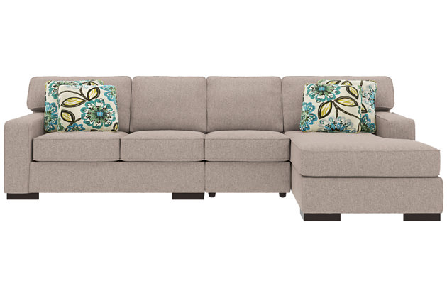 Ashlor Nuvella® 3-Piece Sectional and Pillows, Slate, large