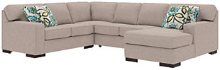 Ashlor Nuvella® 4-Piece Sectional and Pillows, Slate, rollover