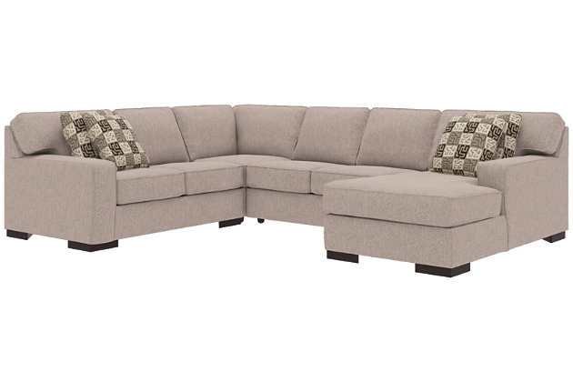 Ashlor Nuvella® 4-Piece Sectional and Pillows, Slate, large