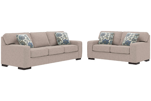 Ashlor Nuvella® Sofa, Loveseat and Pillows, Slate, large