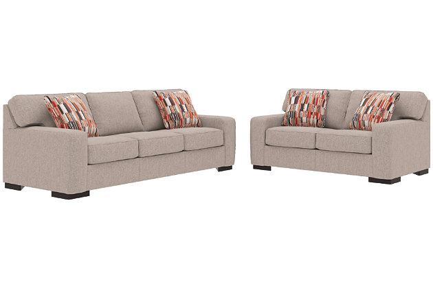 Ashlor Nuvella® Sofa, Loveseat and Pillows, Slate, large