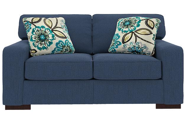 Ashlor Nuvella® Loveseat and Pillows, Indigo, large