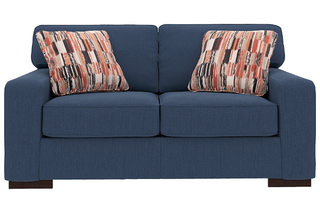 Ashlor Nuvella® Loveseat and Pillows, Indigo, large