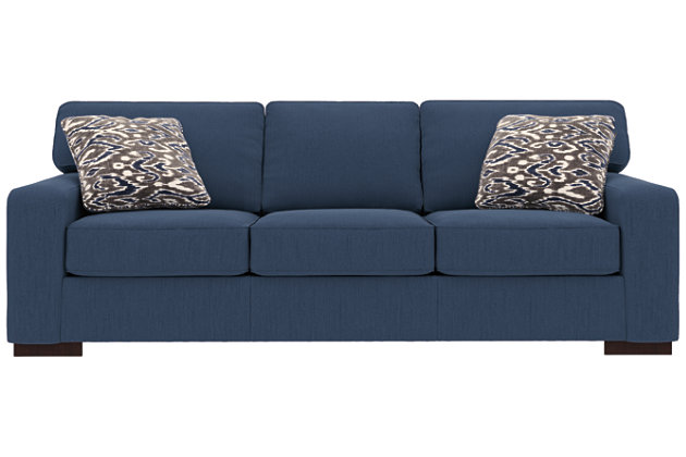 Ashlor Nuvella® Sofa and Pillows, Indigo, large