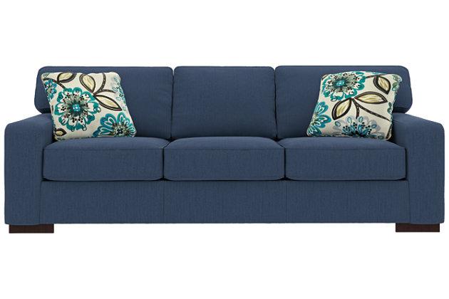 Ashlor Nuvella® Sofa and Pillows, Indigo, large
