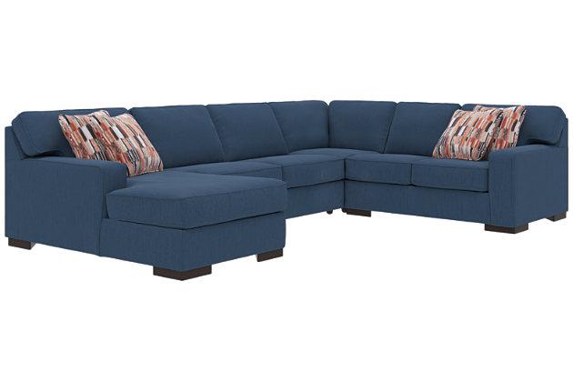 Ashlor Nuvella® 4-Piece Sleeper Sectional and Pillows, Indigo, large