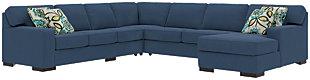 Ashlor Nuvella® 5-Piece Sleeper Sectional and Pillows, Indigo, large