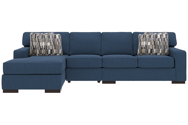 Ashlor Nuvella® 3-Piece Sectional and Pillows, Indigo, large