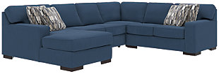 Ashlor Nuvella® 4-Piece Sectional and Pillows, Indigo, large