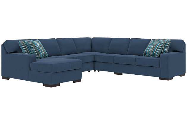 Ashlor Nuvella® 5-Piece Sectional and Pillows, Indigo, large