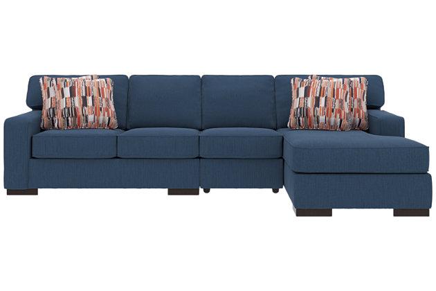 Ashlor Nuvella® 3-Piece Sectional and Pillows, Indigo, large