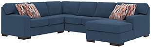 Ashlor Nuvella® 4-Piece Sectional and Pillows, Indigo, large