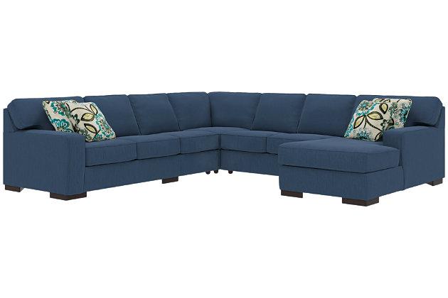 Ashlor Nuvella® 5-Piece Sectional and Pillows, Indigo, large