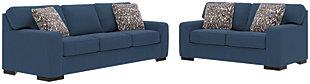 Ashlor Nuvella® Sofa, Loveseat and Pillows, Indigo, large