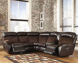 Product shown on a white background : brown leather sectional sofa - Sectionals, Sofas & Couches