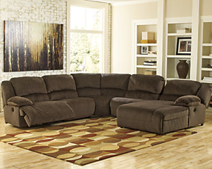 Toletta 6-Piece Reclining Sectional with Chaise and Power, Chocolate, rollover