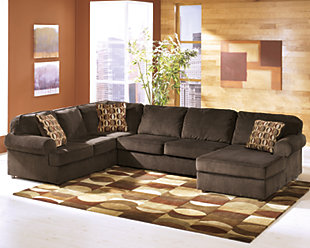 Vista 3-Piece Sectional with Chaise, Chocolate, rollover