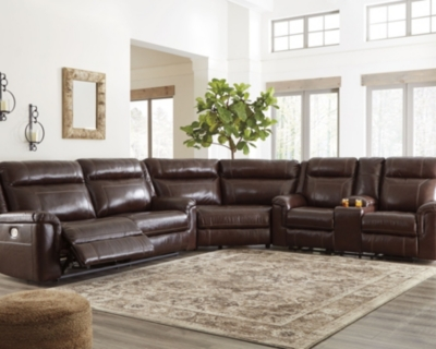 Sectional Power Coffee Leather Piece Product Photo 5