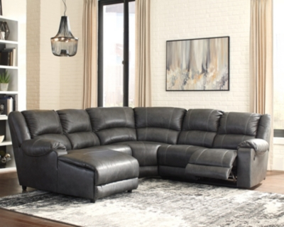 Sectional Charcoal Leather Piece Product Photo 96