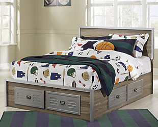 McKeeth Full Panel Storage Bed, Gray, rollover