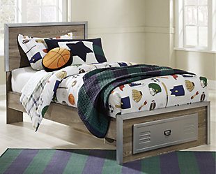 McKeeth Twin Panel Bed with Storage, Gray, rollover