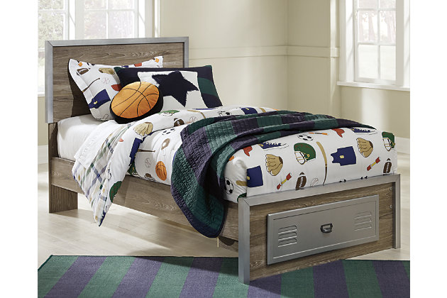 McKeeth Full Panel Bed with Storage, Gray, large