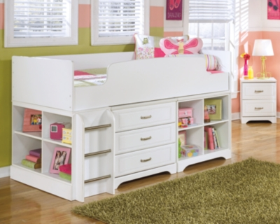 Ashley Lulu Twin Loft Bed with Storage and Bookcase, White