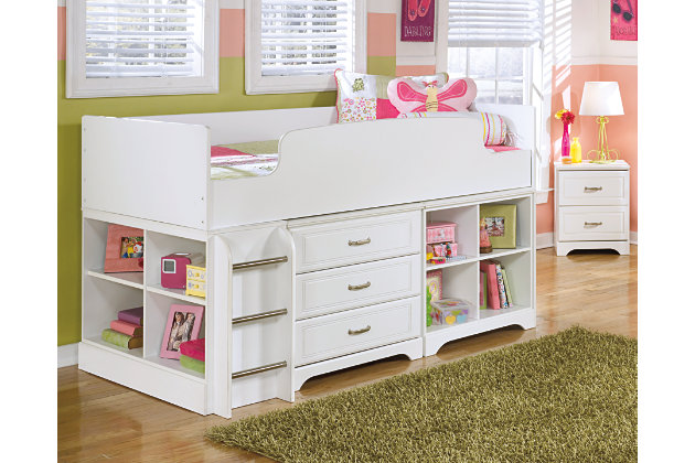 Lulu Twin Loft Bed with Storage and Bookcase, , large
