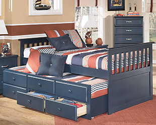 Leo Twin Trundle Bed, Blue, rollover