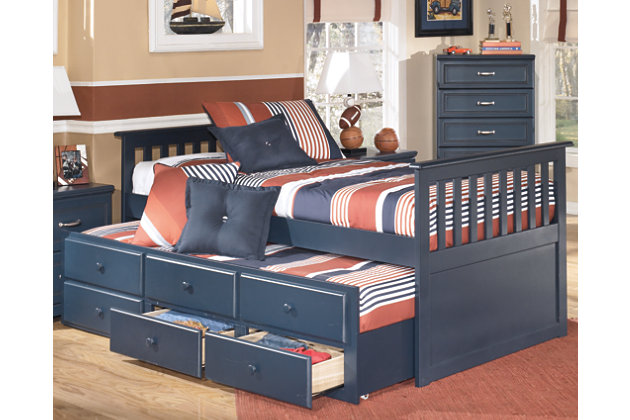 Leo Twin Trundle Bed by Ashley HomeStore, Blue