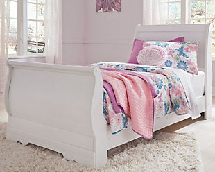 Anarasia Twin Sleigh Bed, White, rollover