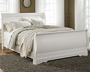 Anarasia Queen Sleigh Bed, White, rollover