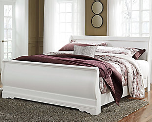 Anarasia King Sleigh Bed, White, rollover