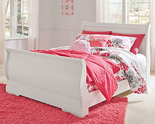 Anarasia Full Sleigh Bed, White, rollover