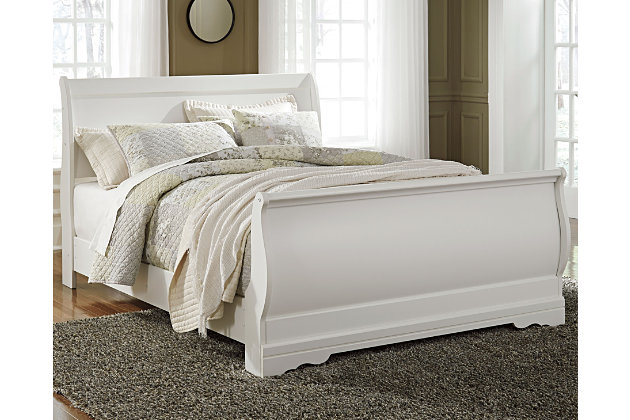 Good Anarasia Queen Sleigh Bed, White, Large ...