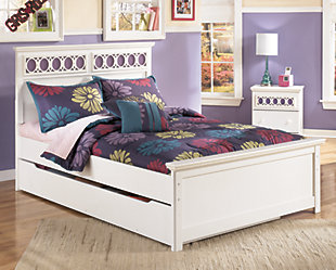 Zayley Full Panel Bed with Storage, White, rollover