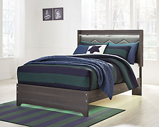 Annikus Full Upholstered Panel Bed, Gray, rollover