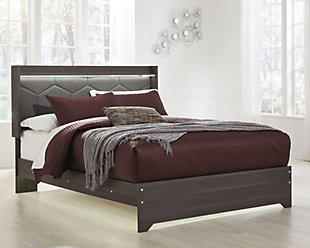 Annikus Queen Upholstered Panel Bed, Gray, rollover