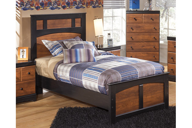 Aimwell Twin Panel Bed, Dark Brown, large
