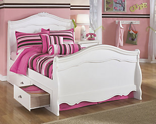Exquisite Twin Poster Bed with Storage, White, rollover