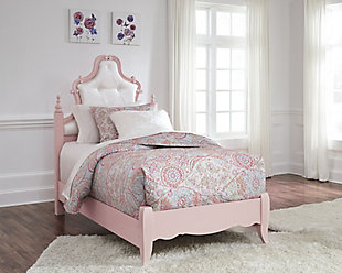 Laddi Twin Upholstered Panel Bed, White/Pink, rollover
