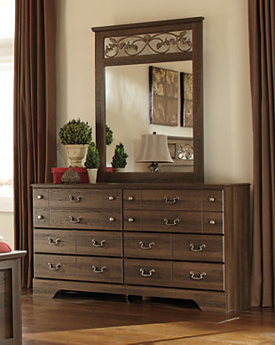 Allymore Dresser and Mirror, Brown, rollover