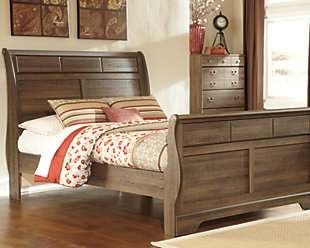Allymore Queen Sleigh Bed, Brown, rollover