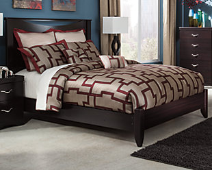 Zanbury Queen Panel Bed, Merlot, rollover
