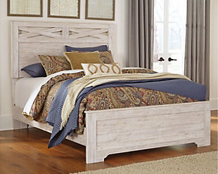 Briartown Queen Panel Bed, Whitewash, rollover