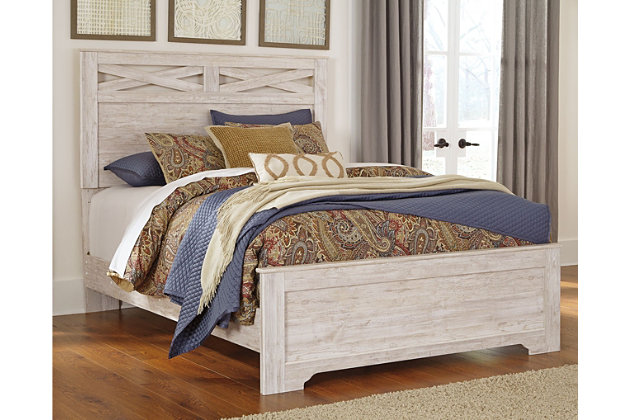 Briartown Queen Panel Bed, Whitewash, large