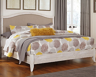 Briartown Queen Upholstered Bed, Whitewash, rollover